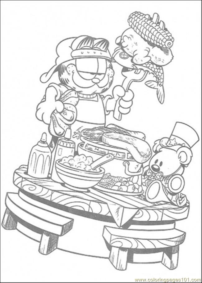 Good Breakfast Coloring Page Free Garfield Coloring