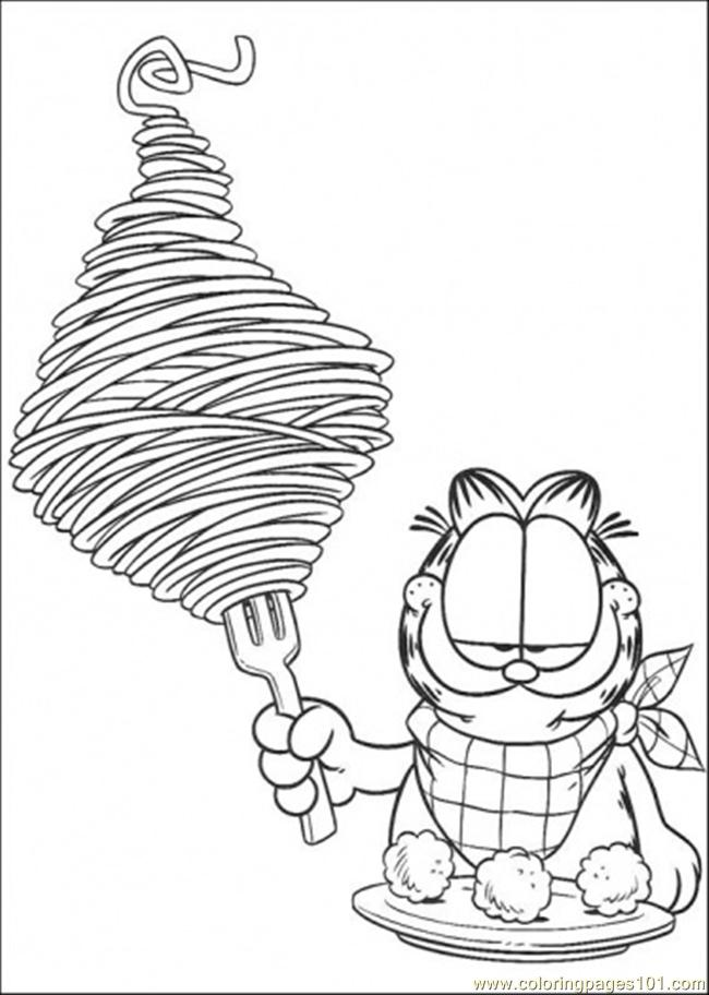 spaghetti coloring page free garfield coloring pages