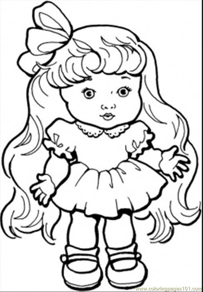baby girl with long hair coloring page - Hair Coloring Pages