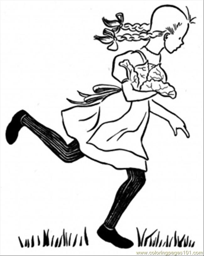 Girl Is Running Through The Garden Coloring Page