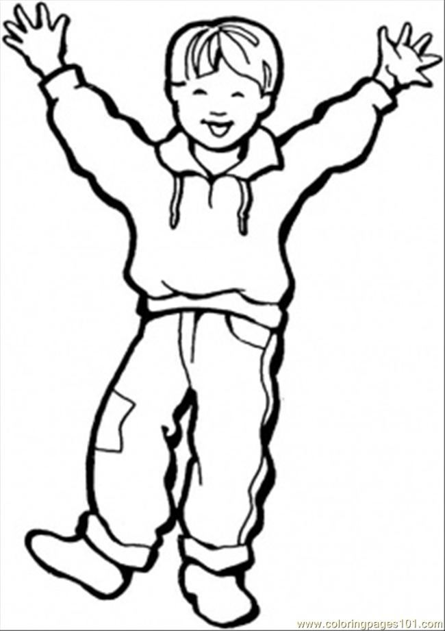 Happy Little Boy Coloring Page