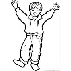 Happy Little Boy Free Coloring Page for Kids