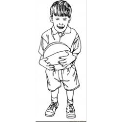Little Basketballer Free Coloring Page for Kids