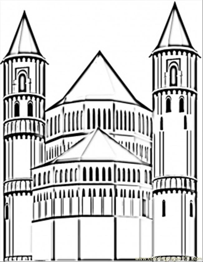 German Cathedral Coloring Page
