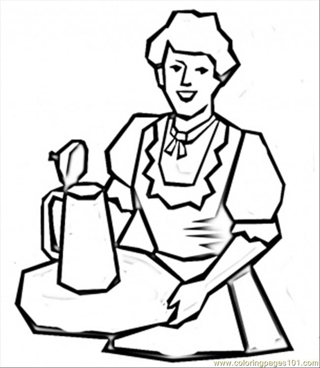 Serving Beer Coloring Page Free Germany Coloring Pages