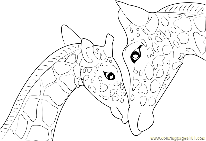 mother and baby giraffe printable coloring page for kids