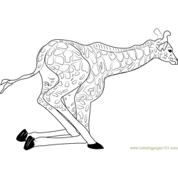 Baby Giraffe Getting Up Free Coloring Page for Kids
