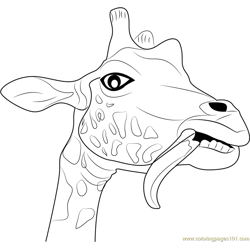 Giraffe Funny Face Free Coloring Page for Kids
