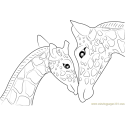 Mother And Baby Giraffe Free Coloring Page for Kids