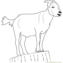 Goat Standing on Stump Free Coloring Page for Kids