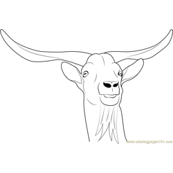 Horny Goat Free Coloring Page for Kids