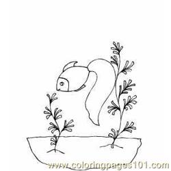 Goldfish Smelling Seaweed Free Coloring Page for Kids