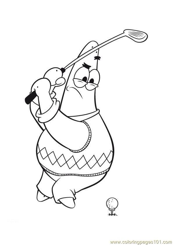 Cartoon Play Golf Coloring Page Free Golf Coloring Pages