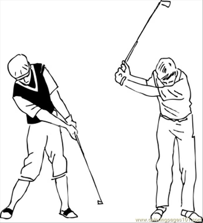 golf swing coloring page
