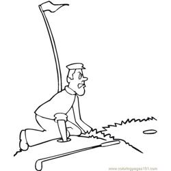 Golf Hole Free Coloring Page for Kids