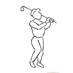 Golf Player Free Coloring Page for Kids