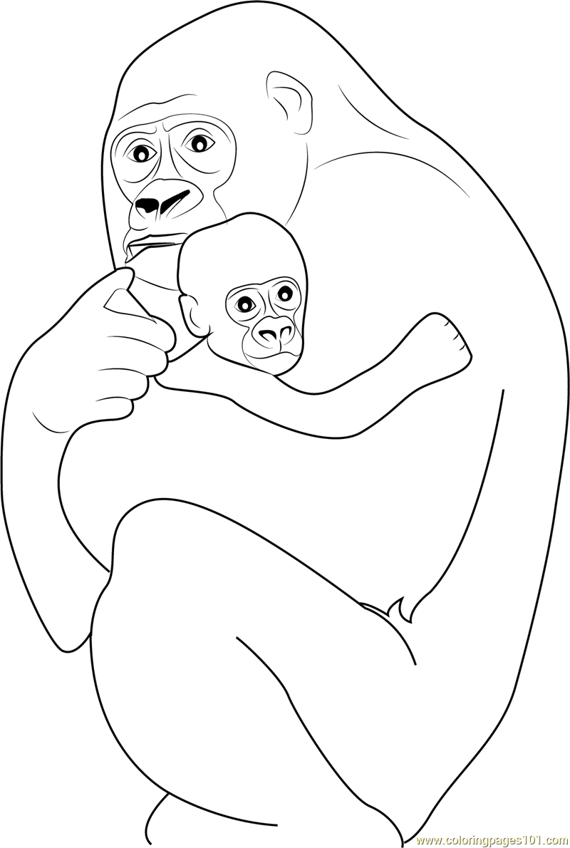 Coloring sheet gorilla - Gorilla Hugs His Baby Coloring Page