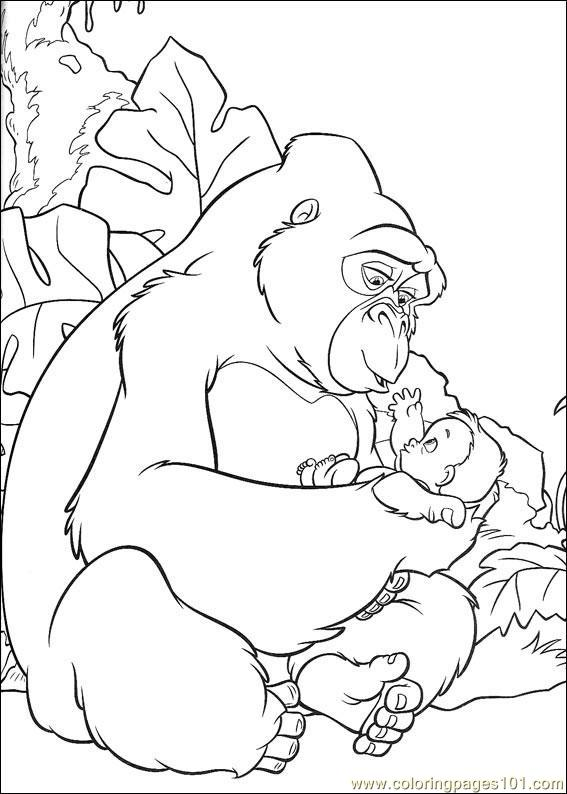 Gorilla1 Coloring Page Free Gorilla Coloring Pages