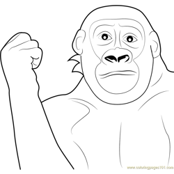 Gorilla Movement Free Coloring Page for Kids
