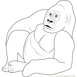 Gorilla Relaxing Free Coloring Page for Kids