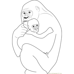 Gorilla hugs his Baby coloring page