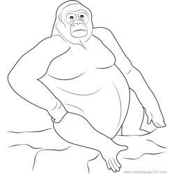 Style of Gorilla Free Coloring Page for Kids