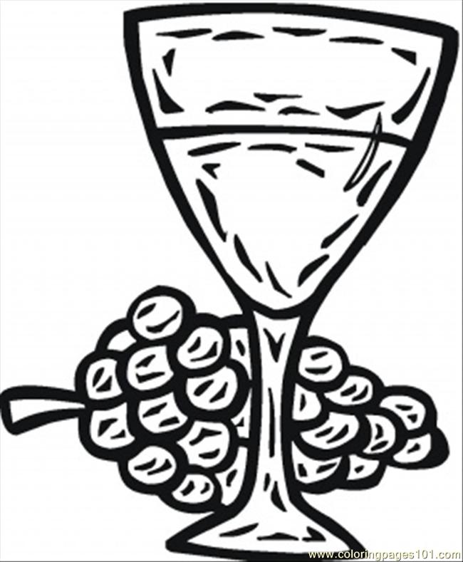 Glass Of Wine Coloring Page Coloring Page