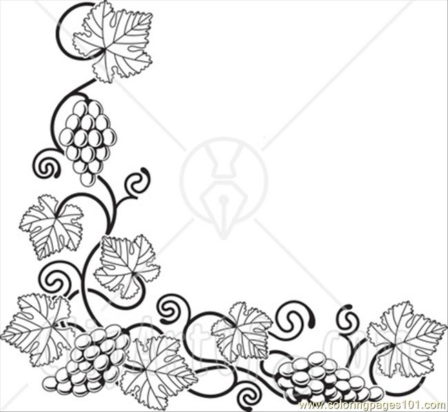 Ong A Bottom Left Corner Edge Coloring Page Free Grapes