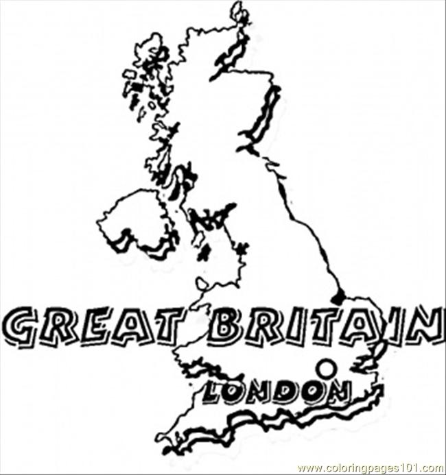 Map Of Great Britain Coloring Page Free Great Britain