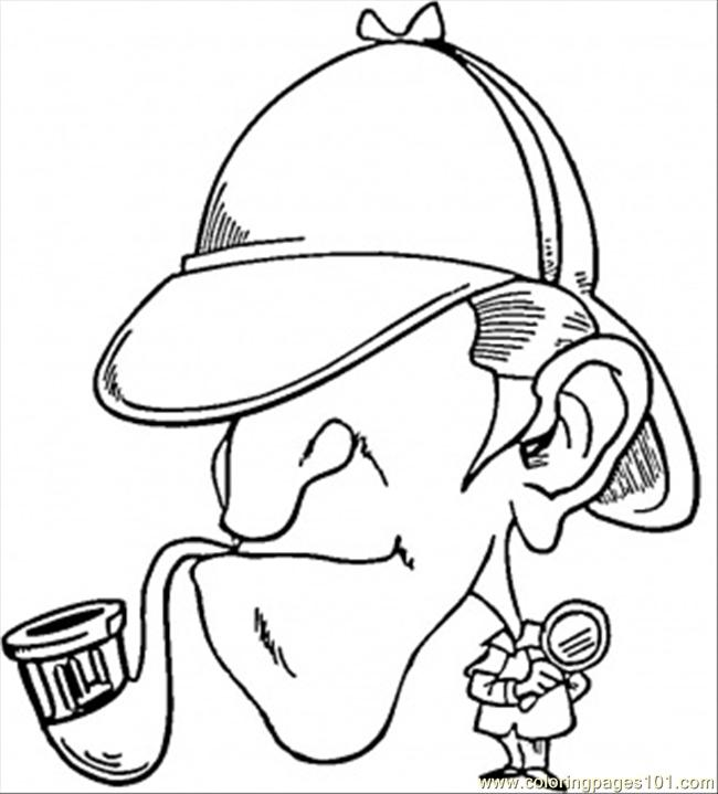 Sherlock Holmes With Pipe Coloring Page Free Great