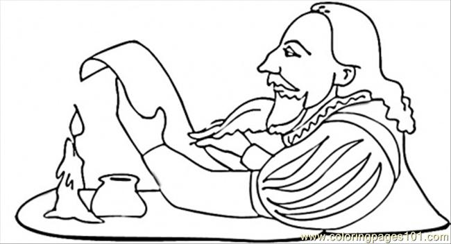 shakespeare is writing a play coloring page