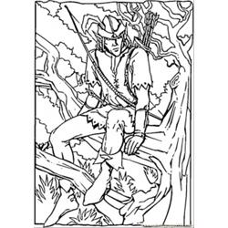 Robin Hood In The Forest Free Coloring Page for Kids