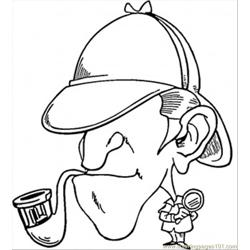 Sherlock Holmes With Pipe Free Coloring Page for Kids