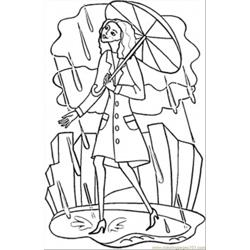 Rainy London Free Coloring Page for Kids