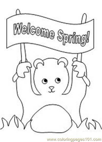 Groundhog showing banner Coloring Page
