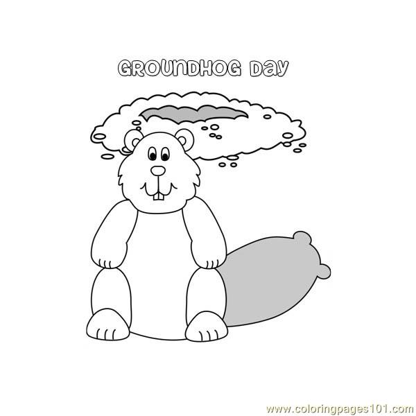 Groundhog day Coloring Page - Free Groundhog or Woodchuck ...