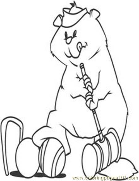 Groundhog playing golf Coloring Page