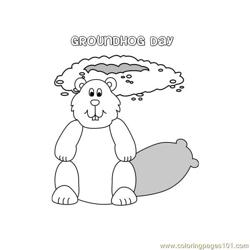 Groundhog day  Free Coloring Page for Kids