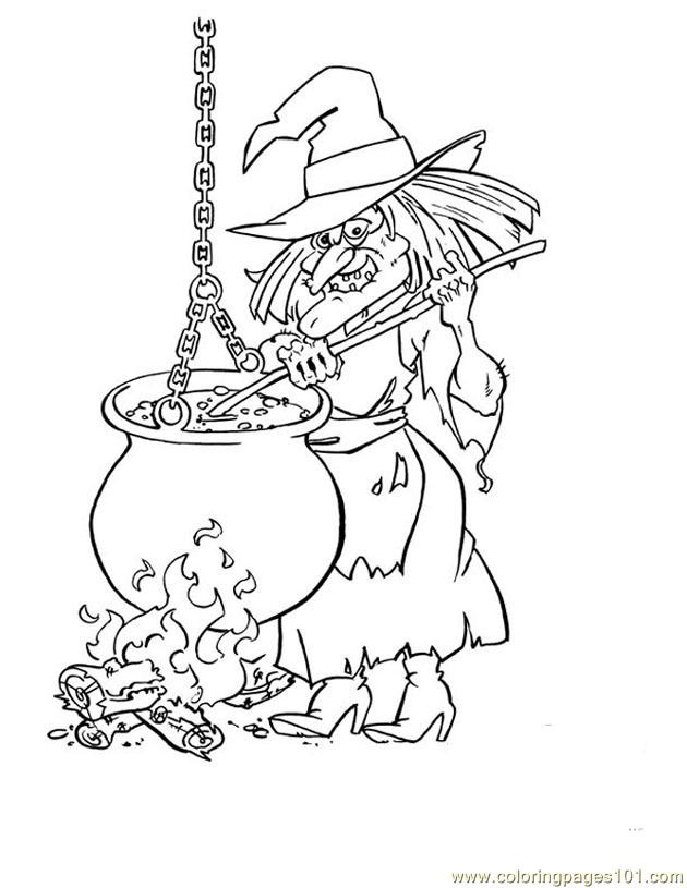 Cauldron Witch Coloring Page
