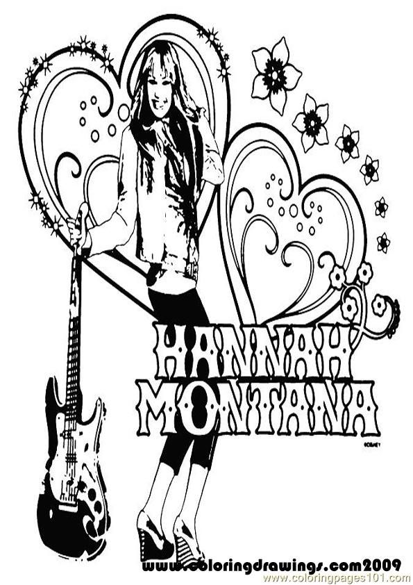 free hanna montana coloring pages | Hannah Montana5 Coloring Page - Free Hannah Montana ...