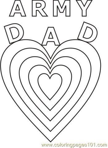 Army Dad Hearts Coloring Page Free Heart Coloring Pages