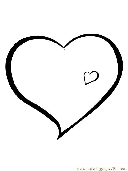 Hearts 6 Coloring Page Free Heart