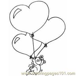 Bear With Heart Balloons Free Coloring Page for Kids
