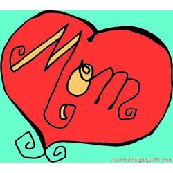 Mom Heart Free Coloring Page for Kids