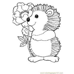 Hedgehog with flower Free Coloring Page for Kids
