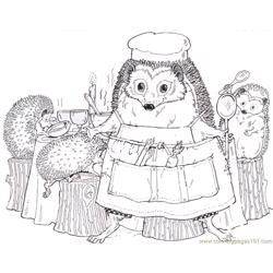 Hedgehog cocking Free Coloring Page for Kids