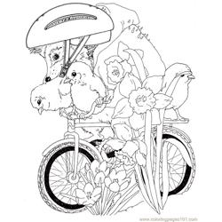 Babby hedgehog going cycle Free Coloring Page for Kids