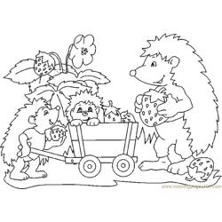 Hedgehog with strawberry Free Coloring Page for Kids