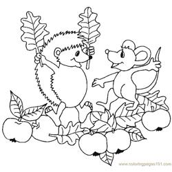 Hedgehog apple garden  Free Coloring Page for Kids