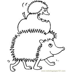 Hedgehogs eating apple Free Coloring Page for Kids